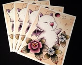 Moogle Final Fantasy Tattoo Flash Print by Michelle Coffee featured image
