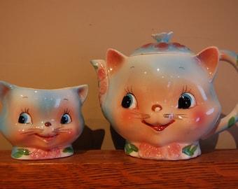 Vintage Lefton Kitty Teapot and Sugar Bowl