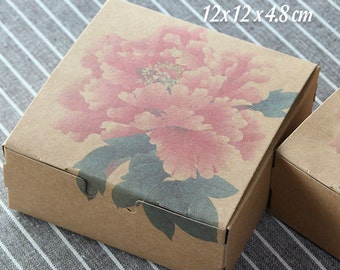 30 Floral Ink Painting Kraft Paper Boxes -DIY Craft Jewelry Baking Soap Packaging / Wedding Party Gift Boxes