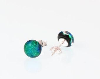 Fused Glass Stud Earrings - Dichroic Glass Earrings - Green/Blue Dichroic Glass.  JBT301