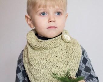 Knitted bandana bib // Sage green bandana scarf, toddler cowl, knitted bib, green grey bandana, hand knit bandana, onward onward