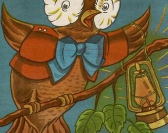 Vintage children's book illustration art owl digital download printable instant image