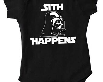 Baby Onesie Sith Happens.. Sith Happens Baby Onesie.. Star Wars Onesie.. Star Wars Baby Onesie.. Vader Onesie.. Sith Happens Onesie..