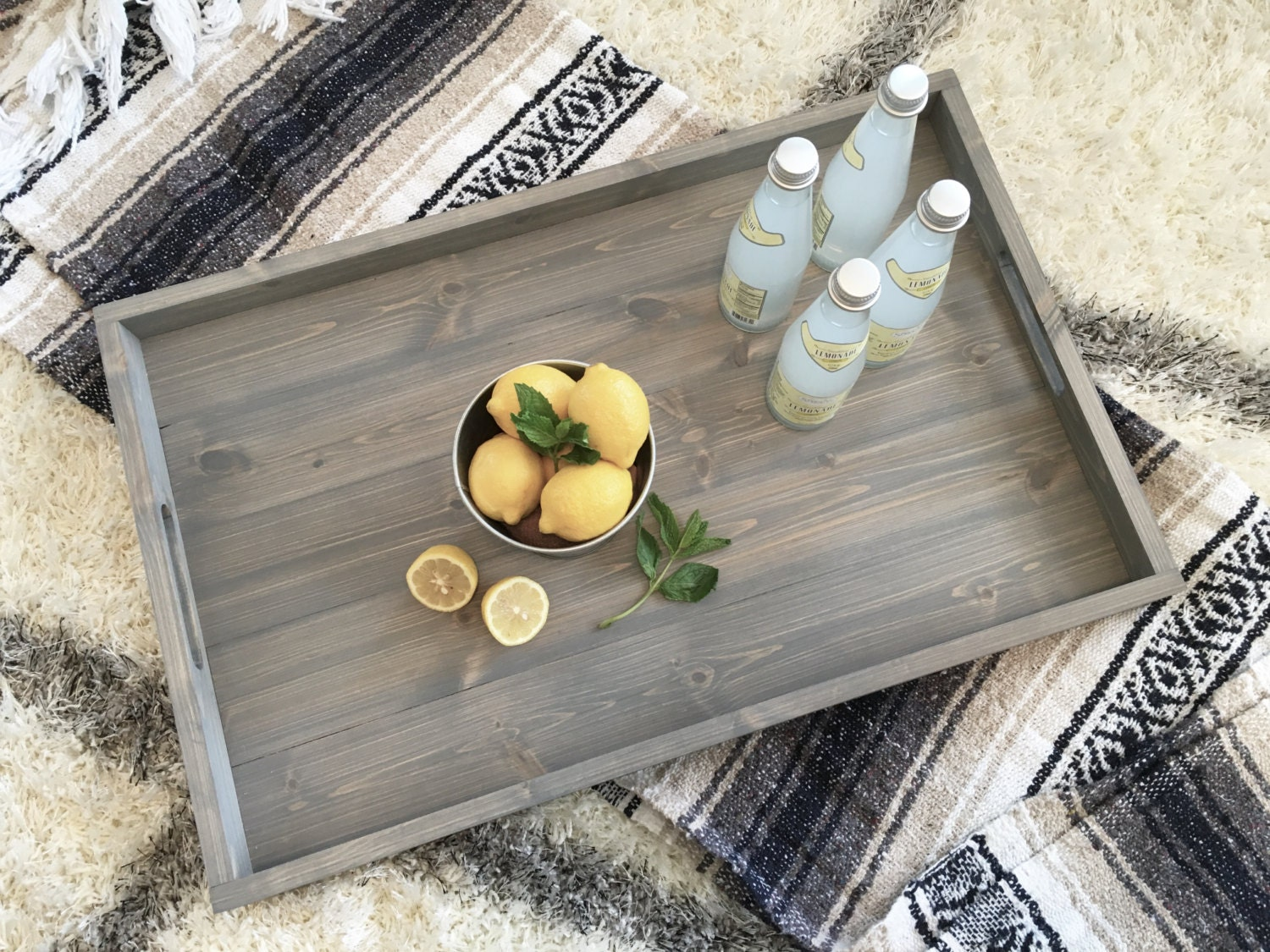 Rustic Wooden Ottoman Tray, Ottoman Tray, Wooden Tray