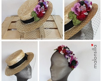 Boater detachable JUNO; Hat + headband. Wedding guest