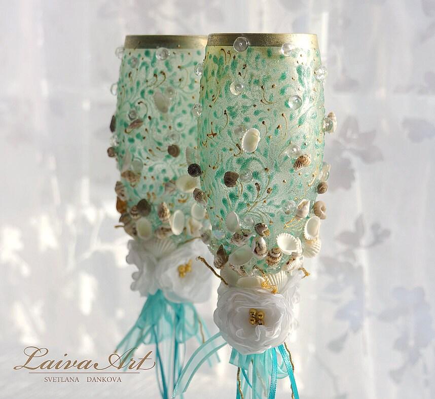 Beach Champagne: Personalized Beach Wedding Champagne Glasses Wedding Champagne
