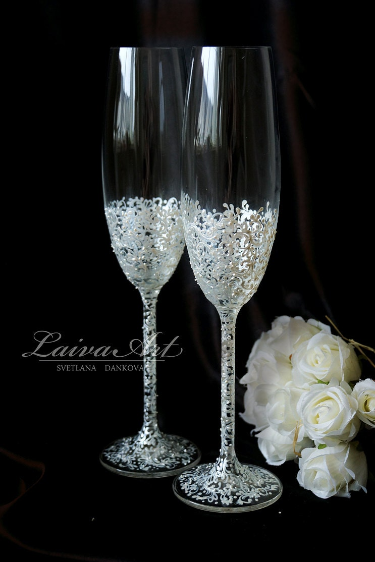 wedding champagne flutes wedding champagne glasses by laivaart