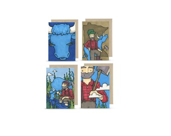 Paul and his Babe -  Set of 4 Greeting Cards