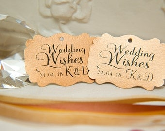 Custom Wishing Tree Tags. Wedding Wishes with Initials and date. Copper Wedding guest cards. Rectangle printed favour tags. Pearlised card