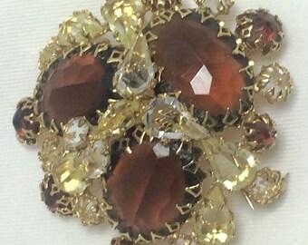 """SALE !  Vintage  """" Schreiner of New York """"  Brooch / Pin.  Amber, Topaz & Clear Rhinestones"""
