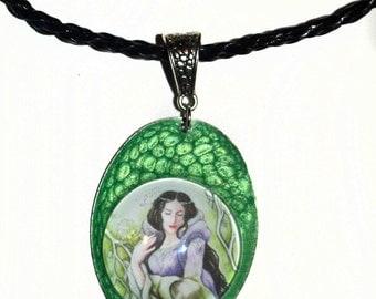 Green pendant - Lady of Sorrow, fantasy jewellery, goddess, hand-made jewellery, elven art