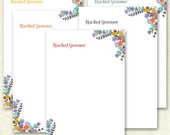 Floral Personalized Notepad - Font Color Options - Personalized Notepads - 25 Pages