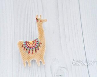 Festive Llama Brooch Pin