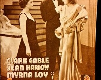 Original 1936 Wife Versus Secretary Danish Herald Movie Poster Clark Gable, Myrna Loy, Jean Harlow VS