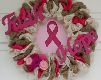 Breast Cancer Awareness Wreath, Awareness Wreath, Burlap Wreath