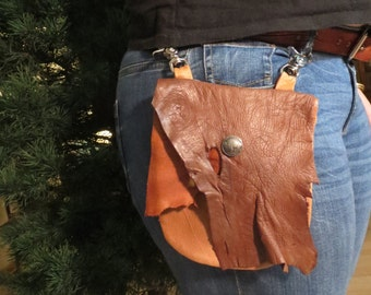 Rustic Deerskin Belt Loop Hip Bag, Copper, Camel and Black