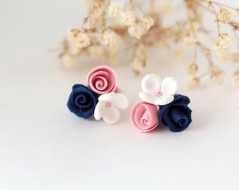 Navy blue stud earrings, pink rose studs, cobalt blue, blue and pink, white rose stud, Minimalist, royal blue, flower earrings