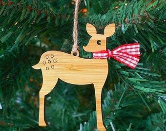 Deer Wooden Christmas Ornament Christmas Tree Decoration - Laser Cut Bamboo Wood - Christmas Bauble
