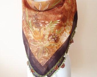 Traditional Turkish Yemeni, Oya scarf, Handmade Scarf, Crochet Oya Scarf,  brown scarf, coton floral scarf, handmade lacework oya