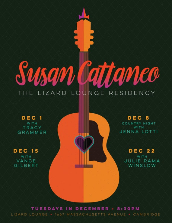 Susan Cattaneo gig poster  // Lizard Lounge, Cambridge
