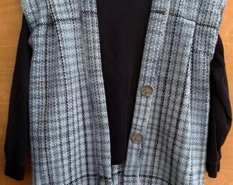 Sporty Blue Vest. Sweater/poncho/shawl/cape. Hannah Vest. #16C01