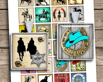 "Cowboys printable Squares 1x1"" 0.75x0.83"" 1.5x1.5"" for Jewelry Scrabble tile images Wild West Digital Collage Sheet - Instant Download"