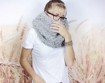 Hand Knit Tube Scarf, Textured Cowl Scarf, Womens Snood, Knitted Scarf, Tunnel Scarf, Snood Scarf, Knit Scarf Women - {GREY MARBLE}