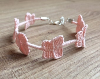 Pink butterflies bracelet, macrame bracelet, friendship bracelet, size adjustable, Cruciani style