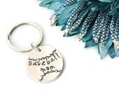 Baseball Mom Hand Stamped Keychain | Baseball Mom Jewelry | Baseball Keychain | Mom Gift | Mother's Day Gift | Aluminum Keychain