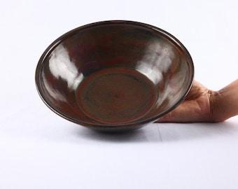 Rust/black stoneware serving dish