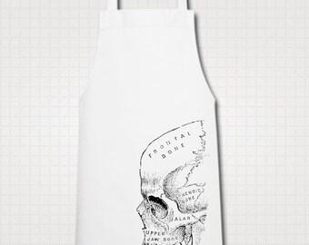 Vintage Art Skull Anatomy Medical Diagram Illustration Ethically Produced Cooking Chef Kitchen Cotton Apron. White.