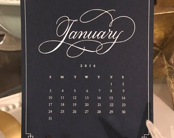 On Sale! 2016 Elegant, Blue and White, Hand Lettered Desk Calendar with Easel