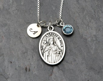 Saint St Teresa of Avila Necklace - Personalized Initial - Swarovski Crystal Birthstone or Pearl - Headaches/Bodily Ills