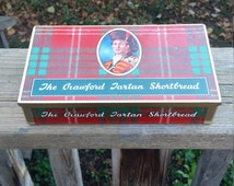 Tartan plaid shortbread tin, Crawford Shortbread, c. 1970s