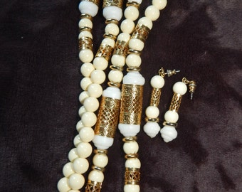 Vintage 1928 Necklace Gorgeous White Bead Gold Filigree Long Necklace and Earrings Set Signed 1928