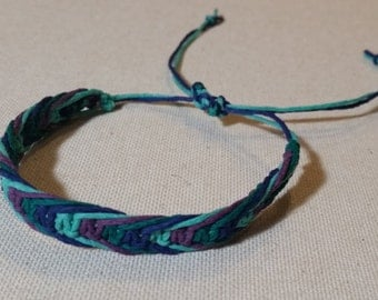 Four Color Fishbone Adjustable Hemp Bracelet