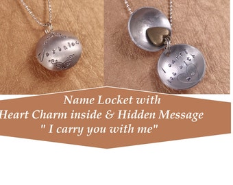 "Memorial Keepsake Locket - Customized with Name and Hidden Message "" I carry you with me "" - Heart charm inside - Dome Pendant - Sympathy"