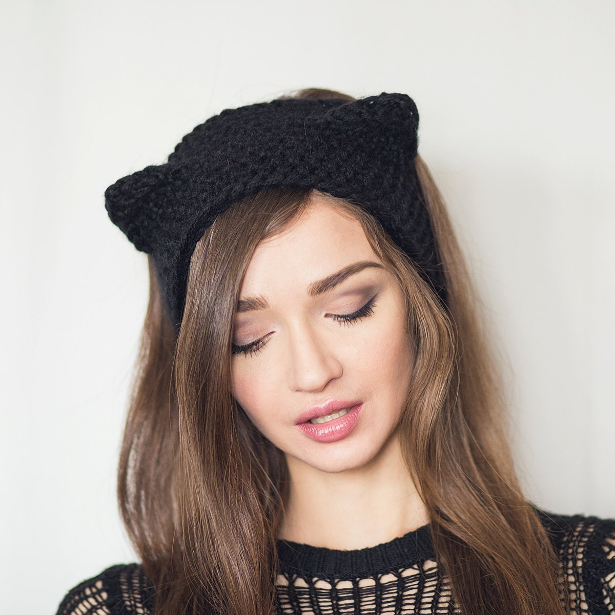 acrylic knit headband black cat cat ears headband headband