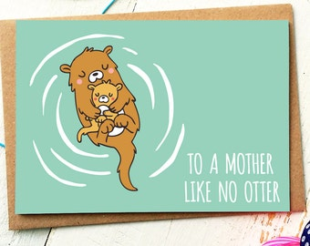 Mothers Day Card - Mum Birthday Card - Mum Card - Mom Card - First Mothers Day - Birthday Card Mum - Otter Card - Thank You Mom - Cute Cards
