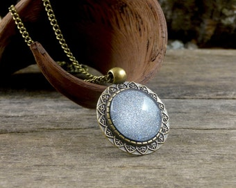 Silver glitter necklace, Sparkling pendant necklace, Glass dome necklace, Sparkly gray necklace, Glitter jewelry, Cabochon necklace SJ 066