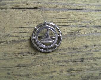 Vintage Ships Wheel Pin/Sterling Ships Wheel Pin/Vintage Sterling Sail Boat Pin/Vintage Sterling Ships Wheel Pin with Sailboat/Nautical Pin