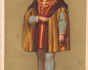 King Charles VIII. Trade card. Chromolithograph trade card. 1880 Antique advertising card. Paper Ephemera . Art History.Hystorical figure