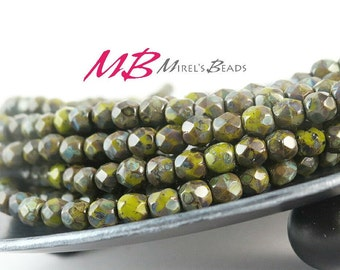 SALE 30% OFF - 6mm Opaque Olive Czech Glass Beads, Faceted Fire Polished