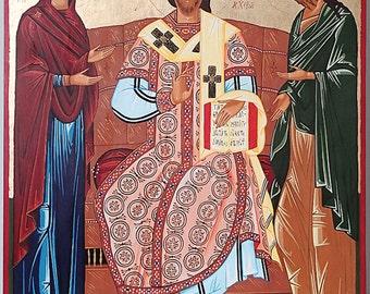 Christ Enthroned, Deesis, Handpainted Orthodox Icon