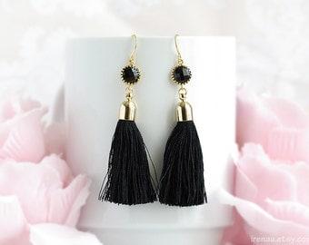 Tassel earrings, Black tassel earrings, Lonk dangle black glass earrings, Silk tassel large earrings, Gold drop glass earrings boho Bohemian