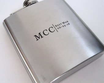 Flask - Engraved Flask - Personalized Gift for Groomsman - Best Man - Gift for Him - Monogrammed Flask - Personalized Flask Engraved Flask
