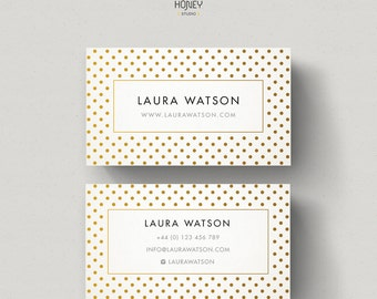 Polka Dots business card, Dotty background, gold dots pattern, premade calling card, businesss card template, custom contact card design