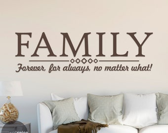 Family Forever For Always No Matter What Vinyl Wall Decal Sticker