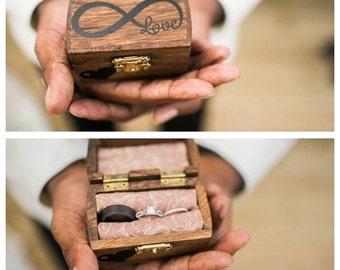 Ring Bearer Wedding Ring Box, Ring Bearer Pillow Alternative, Ring Bearer Ring Box, Rustic Wedding Ring Box, Infinity Ring Box