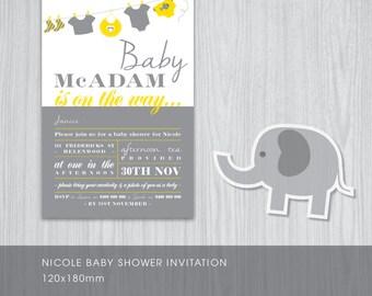 Neutral Gender Baby Shower Invitations - DIY Printable Digital File 'Jenna'